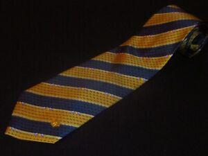 New Gianni Versace Tie Gold Navy Blue Stripe Floral Printed Italian Silk Mens
