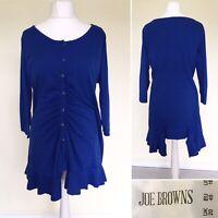 Joe Browns Tunic Dress UK 20 Jersey Blue Button Down 3/4 Sleeve Lagenlook Ruched