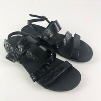 Vionic Orthaheel Black Patent Embossed Sandal Shoes Adjustable US Size 10