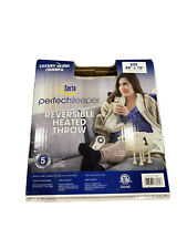 New Serta Perfect Sleeper Heated Reversible Blanket Throw Sherpa Plush Taupe