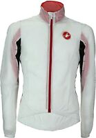 Castelli Velo Mens Cycling Windproof Rain Jacket - White/Red