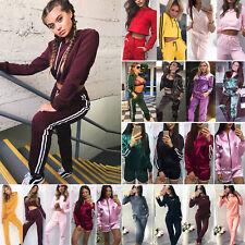 2PCS Set Womens Tracksuit Hoodie Sports Tops Sweatshirt Track Pants Sweat Suit A