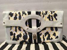 Gwen Stefani L.A.M.B Purse Clutch Rowington Leopard Leather White