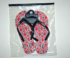 NIB VILEBREQUIN Cobb Mens Red Navy Iconic Turtle Print Flip Flops  42/43 US 9.5