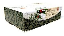 Punch Studio Rectangle Flip Top Box Vintage Holly Post Christmas 14684 Med