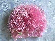 Hand Knitted Baby Girls Pink Eyelash  Wool  Beanie Hat  0 - 3 months  'NEW'