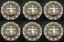 "Set of 6 Western Horse Tack Antique Cross Berry Conchos 1-1/4"" Screw Back"
