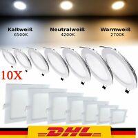 10X 3-24W LED Panel Einbaustrahler Deckenleuchte Einbau Leuchte eckig rund flach