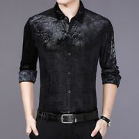 Men Velvet Shirt Casual Long Sleeve Pleuche Top Dragon Business Dress Thick Slim