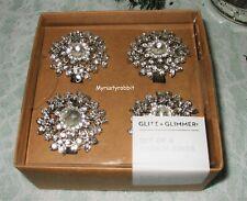 Glitz & Glimmer Jeweled & Embellished Napkin Rings - Set of 4 - Metal New