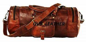 Genuine Goat cow hide Leather Large Vintage Duffel Travel Weekend Overnight Bag