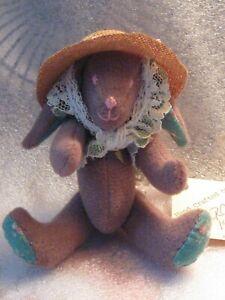 "artist adorable OOAK rabbit vintage 1988 4.5"" brown hat jointed PRISTINE NEW"