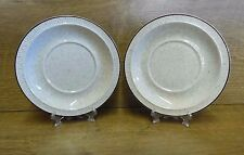 "2 x Poole Pottery Parkstone 6"" Saucers - Brown Rim"