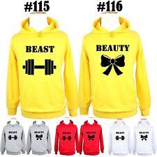 Dumbbells Bows Beast Beauty Print Sweatshirt Couple Hoodies Graphic Hoody Tops