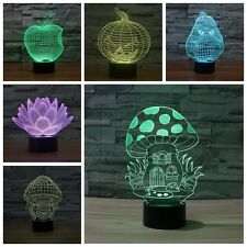 Mushroom 3D Acrylic Illusion LED Night Lights Touch Switch Desk Lamp 7-color USB