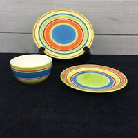 Pier 1 Cabana Place Setting 3 Piece Dinner Plate Cereal Bowl Salad Multi Stripes