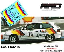 DECAL/CALCA 1/43; Opel Astra GSI; Cruz-De Paz; Rally Villa de Adeje 1995