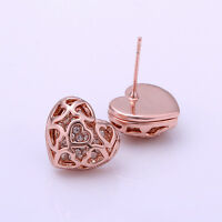 18K Rose Gold Plated Hollow Heart Locket Stud Earrings With SWAROVSKI CRYSTAL
