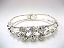 Woman Wedding Bracelet Rhinestone White Flower Bangle open end Bridal Gift