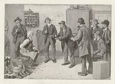 Political Cartoon View Post Office Shoe Repair Cobbler c1904 Antique Art Print