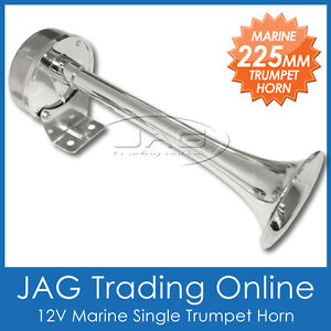 12V 225mm SINGLE TRUMPET HORN - Marine/Boat/Yacht/Truck/Car/Caravan/4x4/RV
