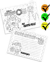Colour Your Own Letter To Santa Postcards - Xmas Christmas Gift Pack Size 1 - 48