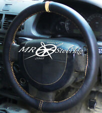 FITS VAUXHALL SIGNUM 2003-2008 BLACK LEATHER STEERING WHEEL COVER + CREAM STRAP