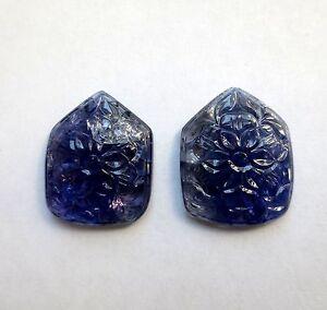 57.71 Karat Geschnitzter Tansanit Paar Mineralien