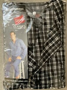 Hanes Classics Woven Pajamas sz XL Black White Plaid Cotton Blend New in Package