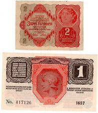 LOT 2 Billets Autriche HONGRIE AUSTRIA  1 KRONE 1916 & 2 KRONEN 1922 NEUF UNC