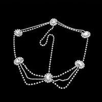 Women Head Chain Rhinestone Hair Jewelry Silver Crystal Chain Accessories Gifts