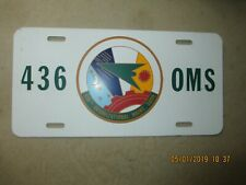 BRAND NEW USAF LICENSE PLATE FOR THE 436th ORGANIZATIONAL MAINTENANCE SQUADRON