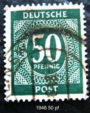1946 German DEUTSCHE POST Green 50pf postage stamp