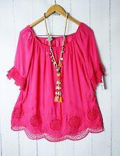 Italy túnica blusa 36 38 40 Romántico Look Con Bordado Rosa NUEVO