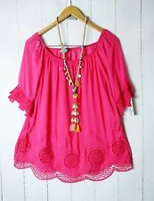 Italy Tunika Bluse 36 38 40   Romantik Look mit Stickerei Pink Neu
