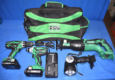 Hitachi 4-Tool 18-Volt Lithium Ion Power Tool Kit (2) Bateries Charger