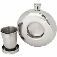 FLASK + Builtin Collapsible SHOT GLASS Stainless Steel Screw Cap Liquor Whiskey
