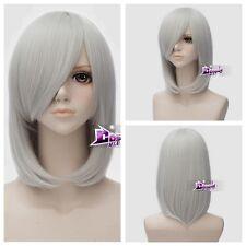 45cm Silver White Medium Hair Lolita Women Anime Party Cosplay Wig + Wig Cap
