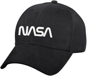 Black NASA Worm Logo Low Profile Hat Baseball Official Space Logo Cap
