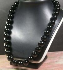 Genuine 12MM Natural BLACK ONYX KNOTTED Beaded NECKLACE 18'' Y22334