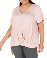 Calvin Klein Womens Top Pink Size 2X Plus V-Neck Draped Twist-Hem Hi-Low $69 018