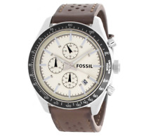Fossil BQ2063 White Dial Brown Leather Strap Chronograph Mens Watch 0119