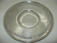 """Vtg 10"""" ROUND BENEDICT DECO SILVER PLATE SERVING TRAY PLATTER Reticulated USA"""