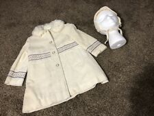 Vintage Rothschild Country Girl Girl's Off White Faux Fur Collar Coat And Hat