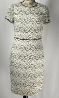 Adrianna Papell Dress NWOT Women's White Lace With Black Beading Size 6