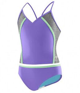 NWT  Speedo Girl's Two Piece Tankini Sport Splice Thin Strap Purple Size 10