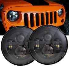 """Black 7"""" 90W Round LED Headlights High-Lo Beam for Hummer H1 H2 AM General 03-09"""
