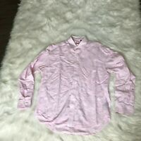 Robert Graham Men's Long Sleeve Embroidered Pink Button-Up Shirt Size Large