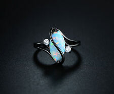 Sevil 18K Black Rhodium Plated Created Fire Opal & CZ Accents Ring S-Shape