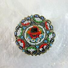 Vintage Micro Mosaic Millefiori Glass Pin Brooch Round Multi Color C Clasp Italy